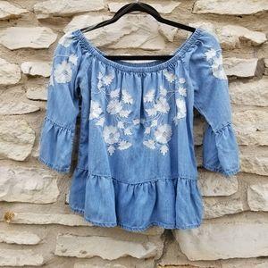 4/$20 Blue Rain Embroidered Off Shoulder Top S